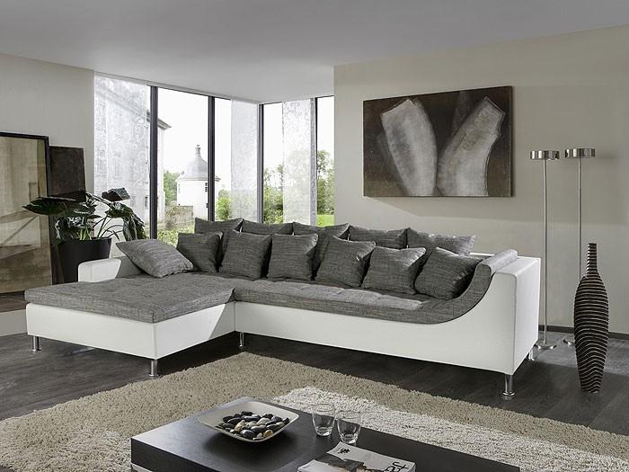 eckcouch madeleine, 326x213cm, webstoff weiß-schwarz, kunstl. weiß, Hause deko